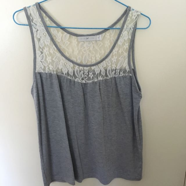 Quirky Circus Grey Singlet With Lace Detail