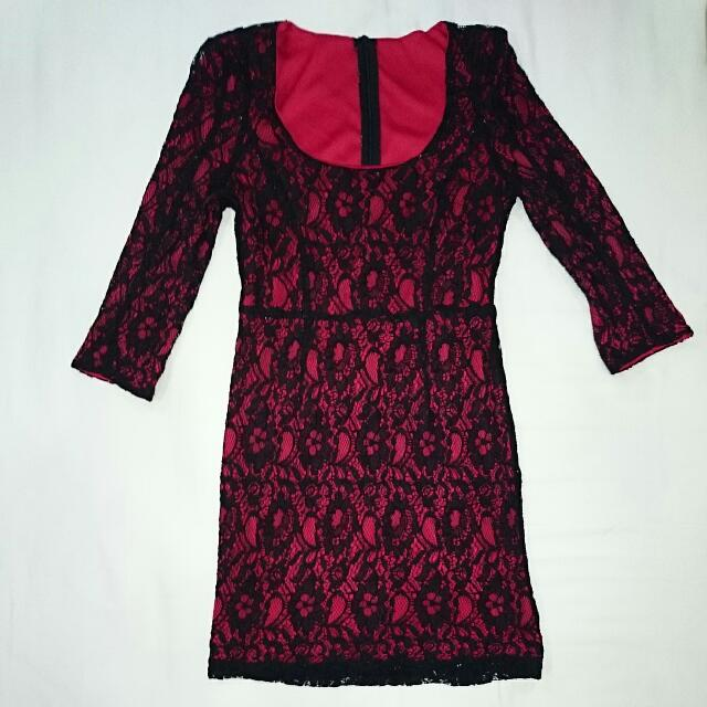 Red With Black Lace Evening Dress