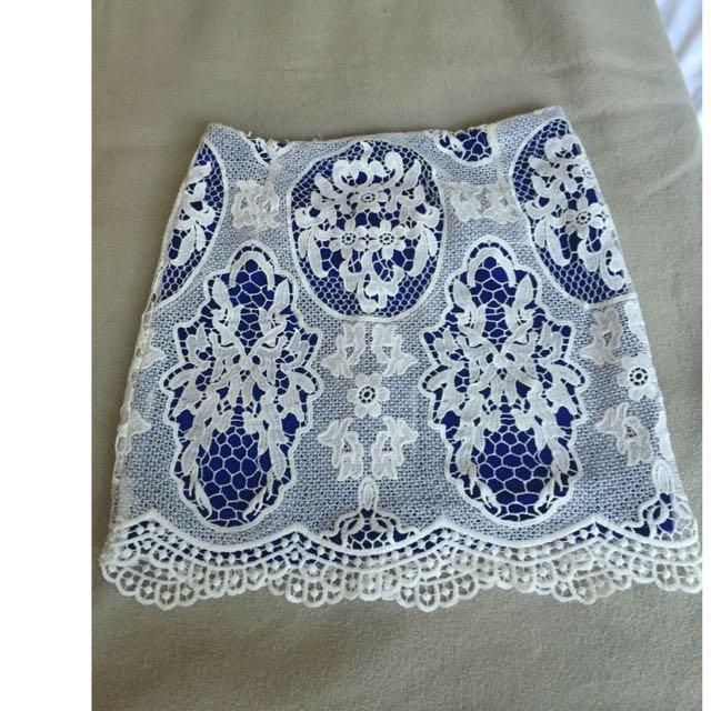 Saints Secrets Blue & White Lace Skirt