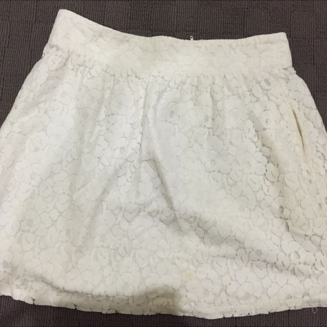 Sz 10 Cotton On White Lace Skirt