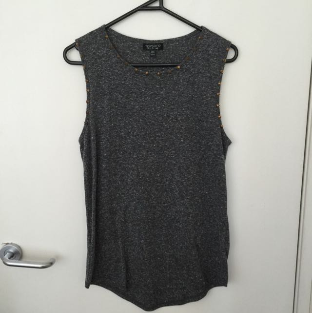 Topshop Grey Studded Top