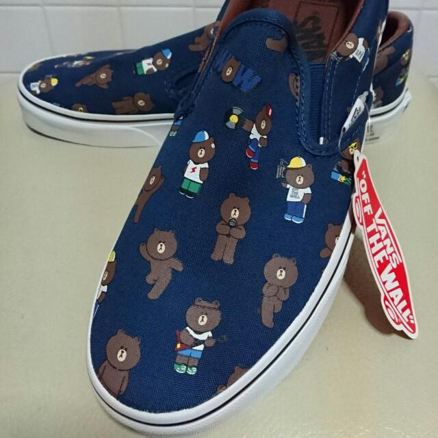 f1c04ecd7f VANS X LINE FRIENDS (BROWN SLIP ON) WOMEN SIZE 7.0