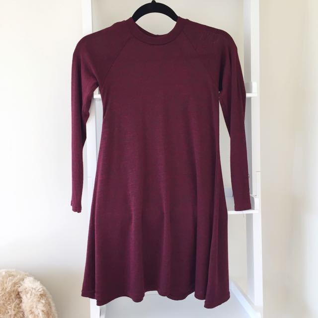 Wine Red Sweater Dress