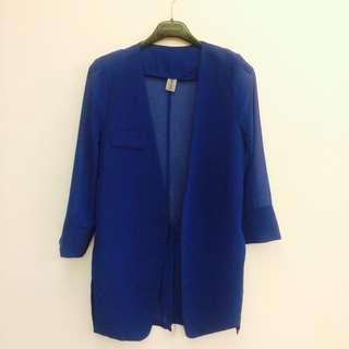 時尚個性雪紡絲質透膚寶藍色西裝薄外套