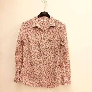 UNIQLO 可愛小碎花粉色顯瘦長袖遮陽薄襯衫