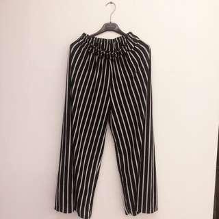 時尚顯瘦黑白直條紋寬闊褲