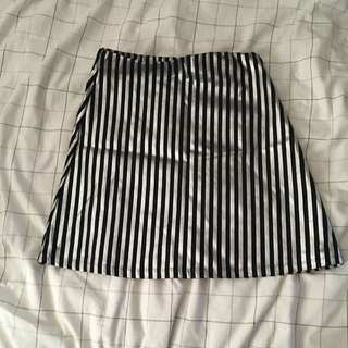 Silver And Black Striped Skirt
