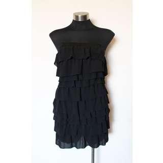 LADAKH BLACK STRAPLESS TIERED DRESS