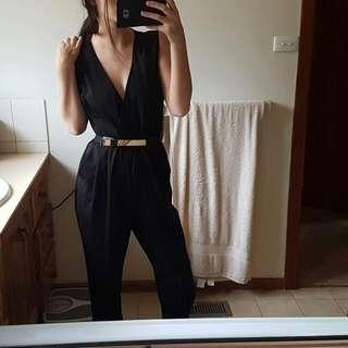 Black Jumpsuit + Belt