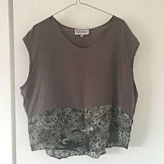 Opening Ceremony Silk Viscose Spliced Olive Top