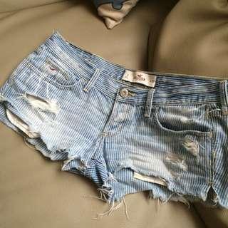 Hollister 條紋淺色刷破破洞牛仔短褲熱褲3號26腰26w低腰