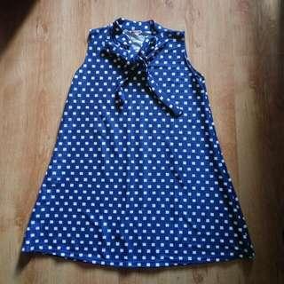 Blue Checkered Ribbon Tie Dress