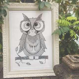 Ink Illustration Of Owl Including Frame