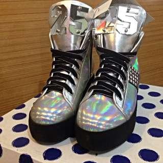 It 25週年紀念版 puzzle銀色高筒鞋
