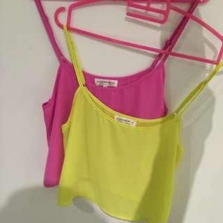 Pink and yellow flowy half tops