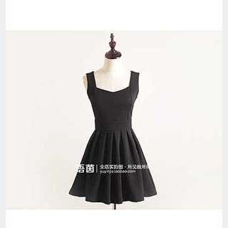 赫本經典小黑裙無袖洋裝