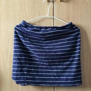 Pazzo夏日水手條紋彈性短裙 深藍/丈青
