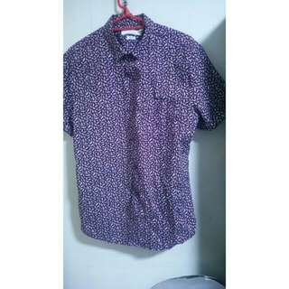 TOPMAN Purple Short Sleeve Folded Shirt
