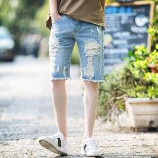 ✨夏日必備✨韓版 修身 破壞 毛邊 潑漆 牛仔短褲💥
