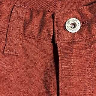 lativ 玩色窄管修身小直筒 牛仔丹寧褲 26腰 暗橘