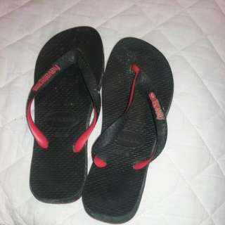 Red And Black Havaianas Thongs/flipflops