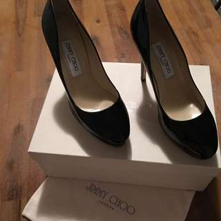 Jimmy Choo Black Patent Leather High Heel Sz 38