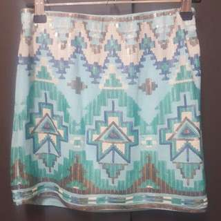 Blue Sequin Skirt