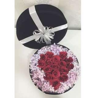 Fresh Roses And Hydrangea Black Velvet Box