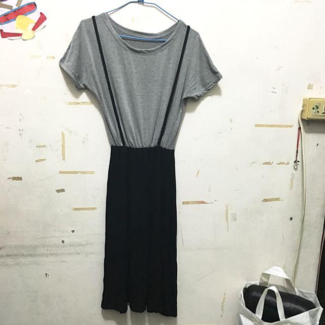 (暫售🎉)灰黑假兩件吊帶裙💋