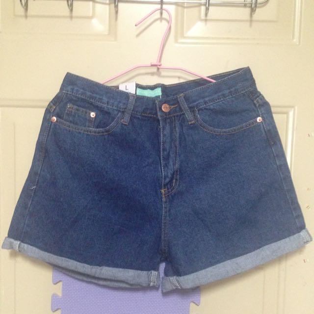 寬版牛仔短褲(深藍)L