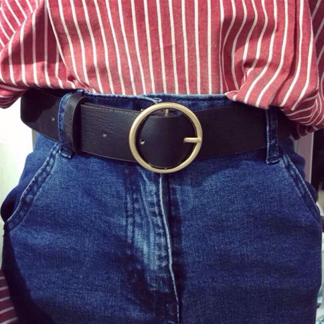 現貨💕韓國休閒百搭圓頭金屬皮帶