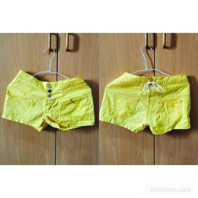 全新-鮮豔亮黃糖果色短褲