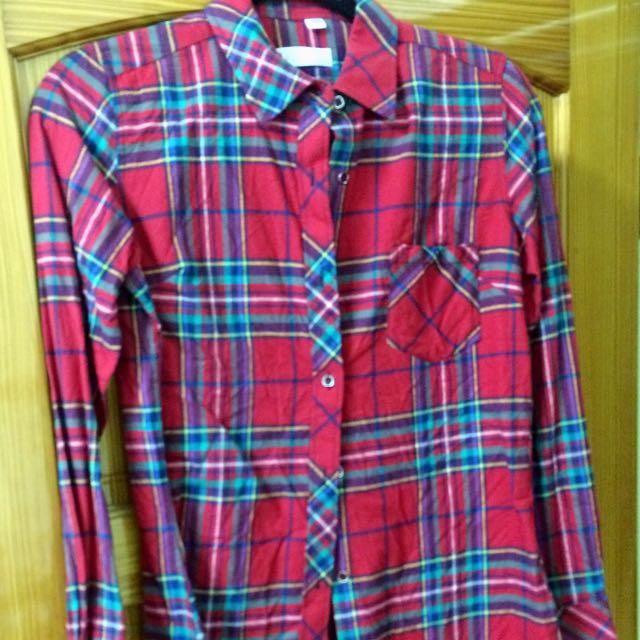厚款 長袖毛絨襯衫-熱情紅格