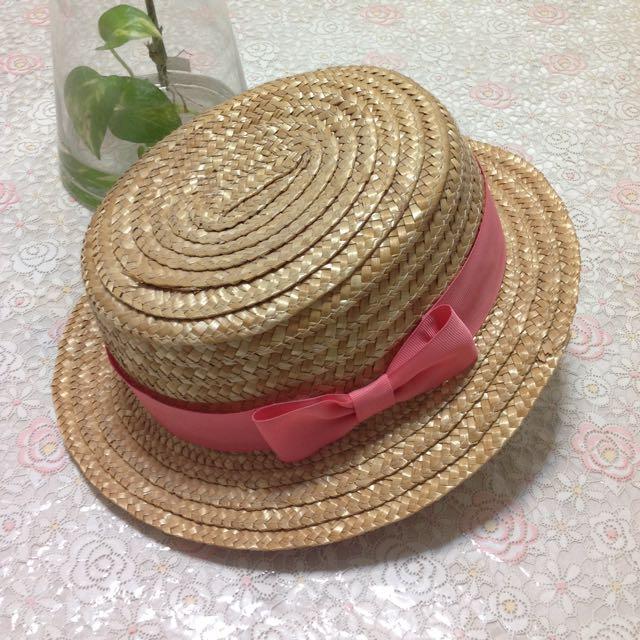 日系平頂粉紅緞帶草帽