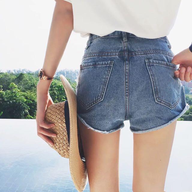 [預購] 高腰捲邊牛仔褲