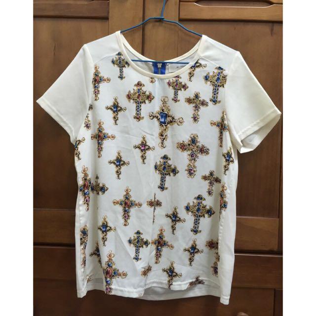 正韓寶石十字架雪紡上衣 韓製 韓國製