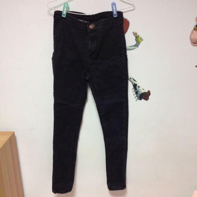 黑色 高腰 牛仔褲