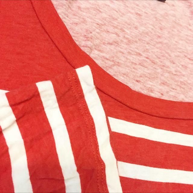 美國購回 Banana Republic 橘紅色條紋七分袖上衣