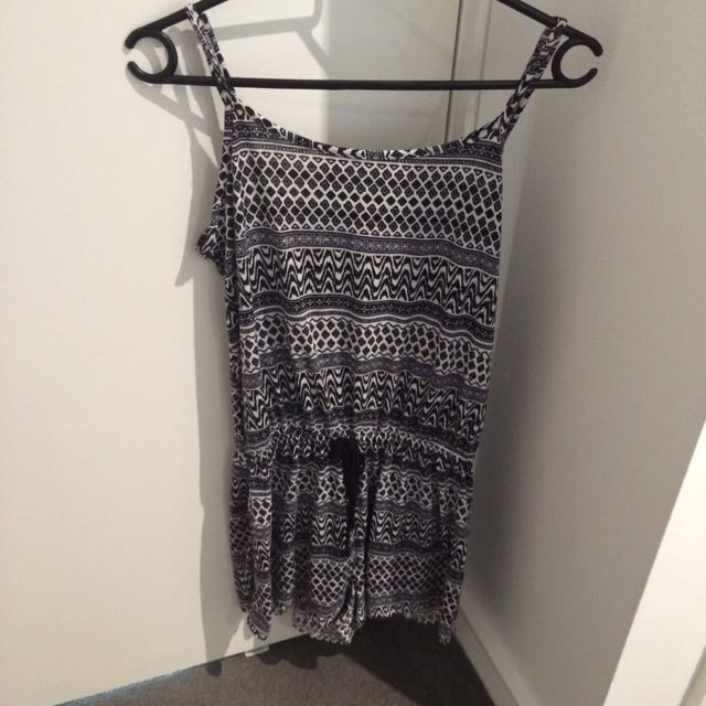 Black and white patterned playsuit