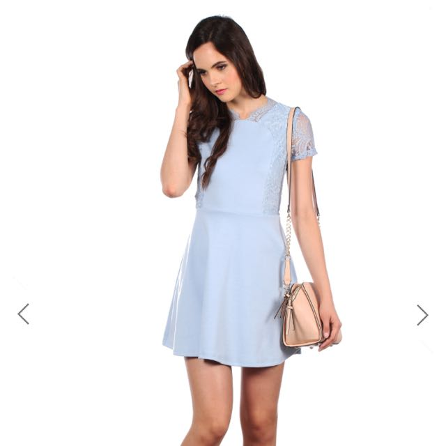BNWT TSW EMERY ORIENT SKATER DRESS IN POWDER BLUE In S