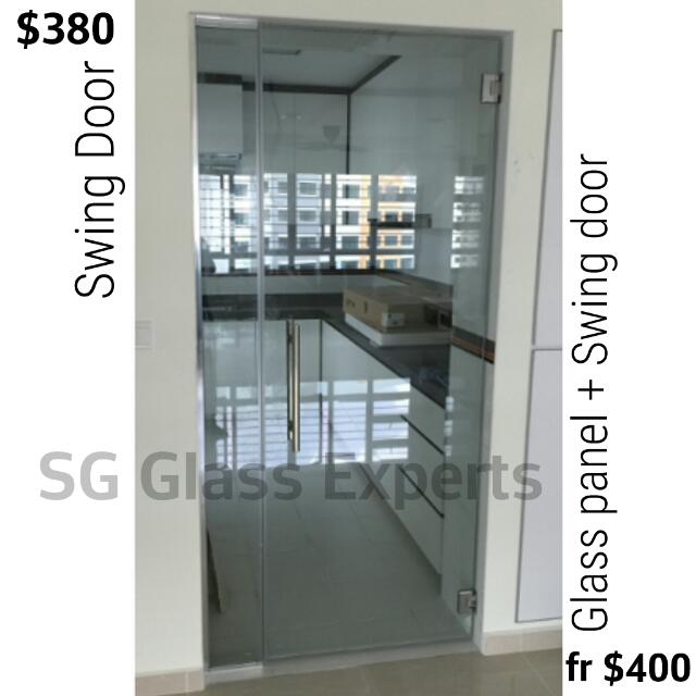 Cheapest Glass Door In Carousell - $380 Swing Door, $530 Sliding Door, $650  Bi-fold Door 100% Tempered Glass Safe Durable