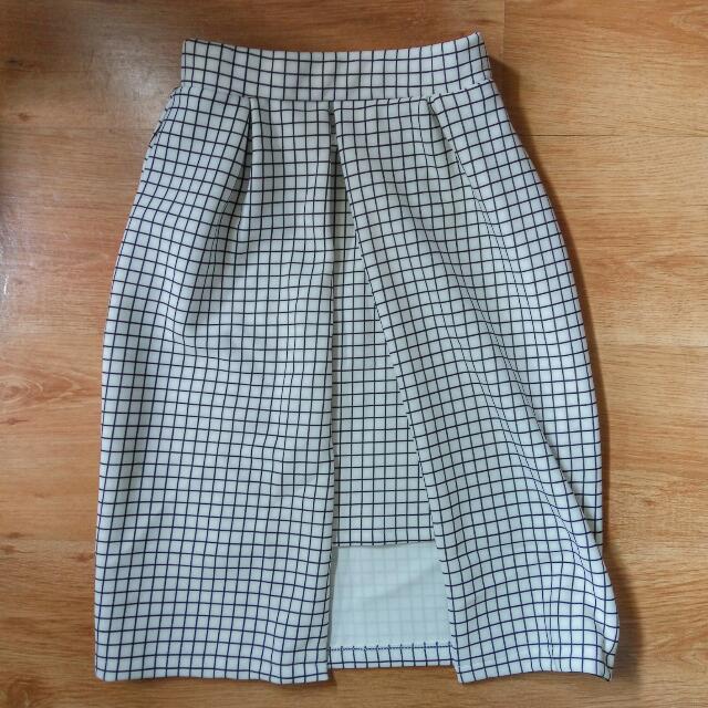 Checkered White Skirt - BOOKED