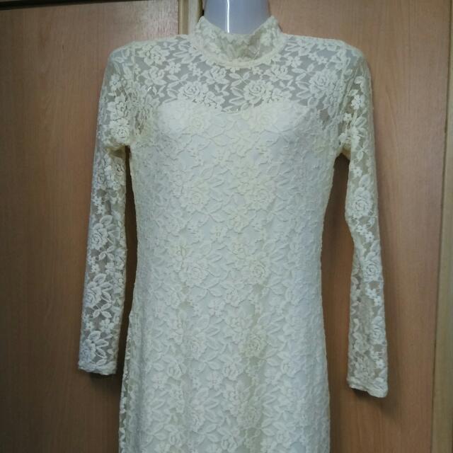 Creme Lace Long Dress