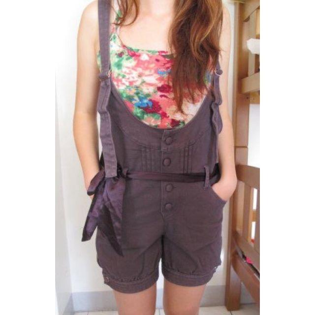 非常cute紫色吊帶褲
