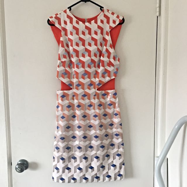 DION LEE Geo Printed Cutout Dress