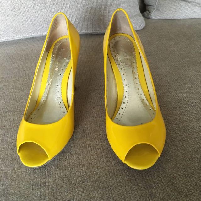 Grace Gift黃色魚口跟鞋23.5號