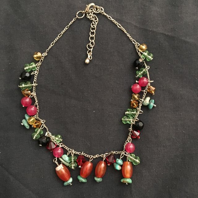 Handmade Colored Stone Bead Necklace