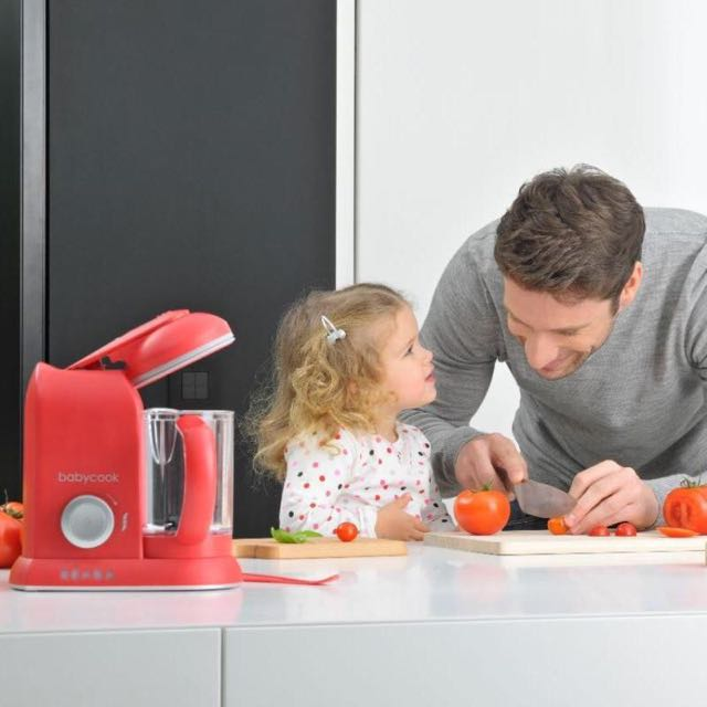 NEW BEABA BABYCOOK SOLO BABY FOOD PROCESSOR STEAM COOK BLEND DEFROST RED + Pasta & Rice Cooker Insert