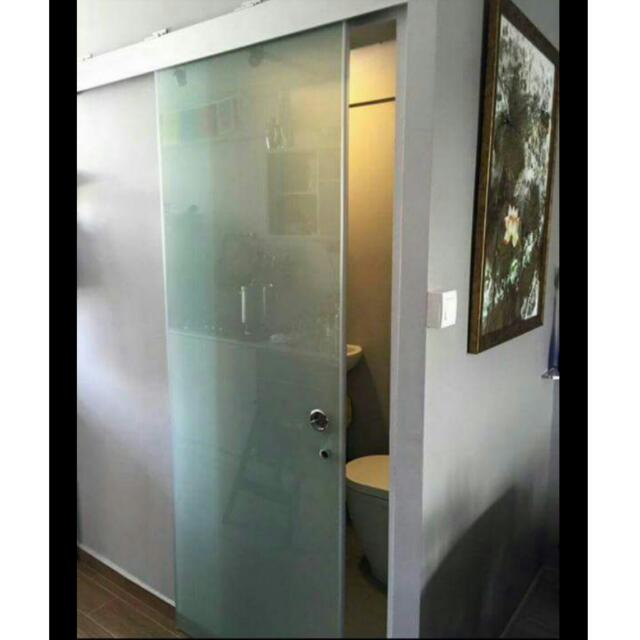 photo photo ...  sc 1 st  Carousell & Elegant BTO Toilet Door - Frosted Sliding Door $630. Frosted Swing ...