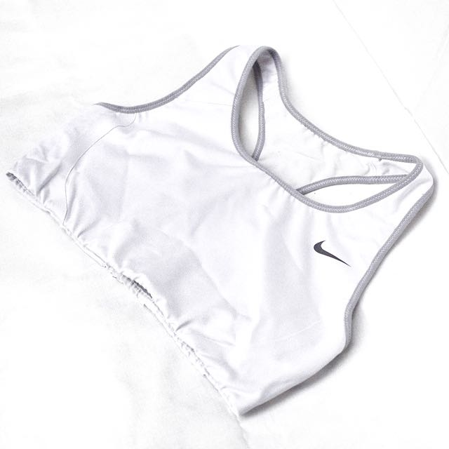 Nike White And Grey Gym Top